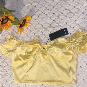 Yellow bardot crop top